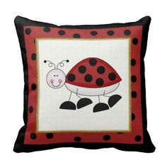 Ladybug Hugs Throw Pillow