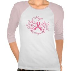 "To advocate and support Breast Cancer Awareness, we offer our powerful slogan design of ""Hope, Love, Faith and Strength"" in scripted lettering on t-shirts, apparel and gifts featuring a beautiful butterfly art ribbon in pink with flourishing swirls"
