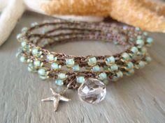 Seafoam crochet wrap bracelet necklace Malibu Star di slashKnots