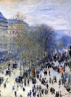 Claude Monet Boulevard des Capucines painting, oil on canvas & frame; Claude Monet Boulevard des Capucines is shipped worldwide, 60 days money back guarantee. Claude Monet, Renoir, Monet Paintings, Landscape Paintings, City Landscape, Abstract Paintings, Boulevard Des Capucines, Städel Museum, Artist Monet