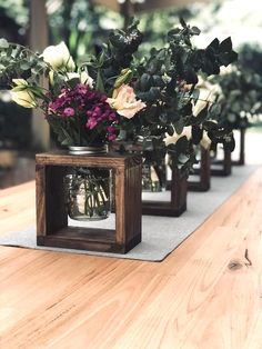 Rustic solid wood vase centrepieces, wedding ceremony isle decor, get together decorations or family decor. All casings are sourced from recycled timber and finished in a very dark chocolate stain. Because of modifications in lumber grains, knots and timber sourced, colour and thickness can vary greatly slightly from vase to vase. Frame #weddingdecorationsideas #weddingdecorationsdiy
