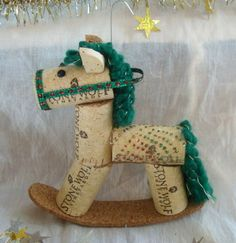 Wine Cork Rocking Horse Ornament Green Speckled by TeaandSquirrels Wine Craft, Wine Cork Crafts, Wine Bottle Crafts, Wine Bottles, Holiday Crafts, Christmas Crafts, Christmas Ornaments, Wine Cork Art, Wine Corks