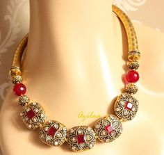 Necklace Set, Beaded Necklace, Gold Necklace, Necklace Online, Antique Earrings, Handmade Necklaces, Antique Gold, Jewellery, Craft