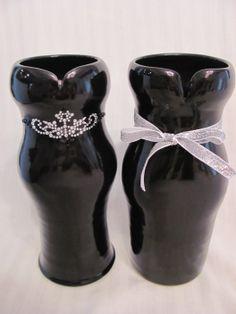Elegant black dress vases