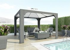 zostava z umeleho ratanu seda Gazebo, Pergola, Garden Furniture, Outdoor Structures, Patio, Brown, Outdoor Decor, Color, Gray