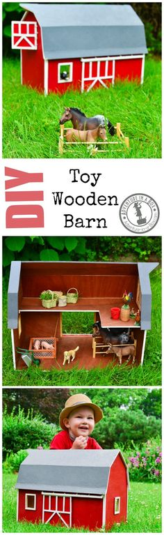 Handmade Toy Wooden Barn: a DIY project that has the potential to become a family heirloom, but will keep your kid's animals under control… Wooden Toy Barn, Wooden Diy, Projects For Kids, Diy For Kids, Diy Projects, Woodworking Projects, Woodworking Plans, Kids Barn, Cardboard Toys