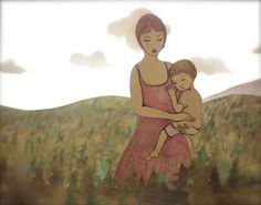 Photographic Print.  When she held her child she could walk through the forest, eyes high above the tree-tops.