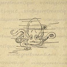 Cute Octopus Graphic Digital Image Download Cartoon Illustration Printable Vintage Clip Art. Vintage high resolution digital image graphic. This printable digital artwork can be used for printing, transfers, t-shirts, tote bags, papercrafts, tea towels, and other great uses. Real antique art. Antique artwork. This digital image is high quality and high resolution at size 8½ x 11 inches. Transparent background version included with every graphic.