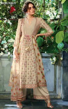 Flower Print Kora Silk Suit Set Online Shopping For Ethnic Wear: Buy Designer Sarees, Lehengas, Anarkali suits, Salwar Suits,Kurtis,Gowns – Meenabazaar.com