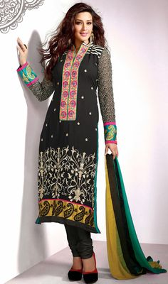 Sonali Bendre Black Georgette Churidar Suit Price: Usa Dollar $121, British UK Pound £71, Euro89, Canada CA$131 , Indian Rs6534.