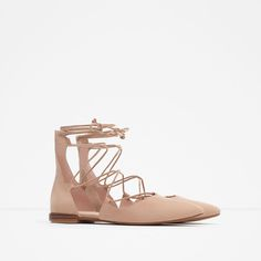POINTED LACE-UP BALLERINAS-View all-Shoes-WOMAN | ZARA United States