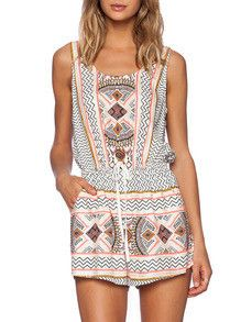 Trendy tribal print boho romper. This playsuit is the perfect spring summer outfit to wear to any occasion. Pattern Type :Print Color :Multi Sleeve Length :Sleeveless Material :Polyester Neckline :Str