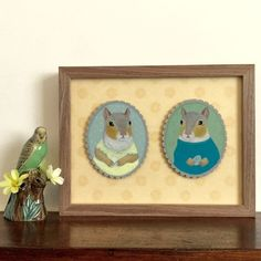 Magda and Edwin with their little eggs, framed original squirrel paintings…