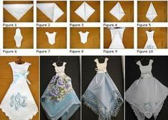 Hankie Dress tutorial - unique way to display vintage handkerchiefs. Hankie Dress tutorial - unique way to display vintage handkerchiefs. Handkerchief Crafts, Handkerchief Dress, Vintage Fabrics, Vintage Sewing Patterns, Vintage Linen, Do It Yourself Design, Origami Dress, Dress Card, Vintage Handkerchiefs