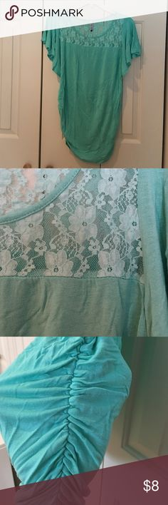 Green Maternity T-Shirt Green Maternity Shirt with lace detail & flutter sleeve Planet Motherhood Tops Tees - Short Sleeve