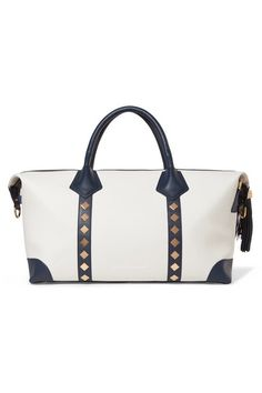 d7a69661633921 Eddie Harrop - Voyager Studded Leather-trimmed Canvas Weekend Bag - Cream Canvas  Weekender Bag
