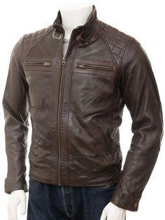 Stylish Men's Brown Biker Leather Jacket by leatherpointetsy