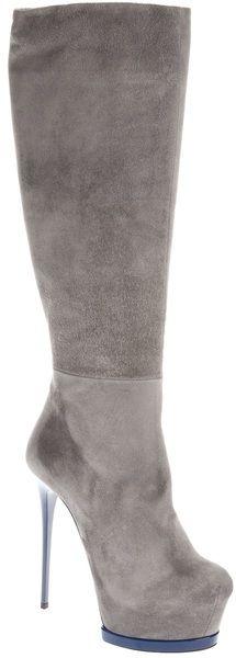 Gianmarco Lorenzi Stiletto Boot in Gray (grey) | Lyst
