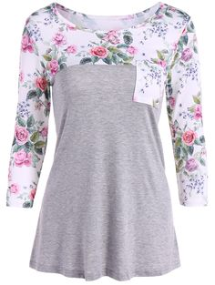 One Pocket Floral Splicing T-Shirt