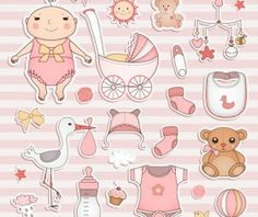 Baby elements sticker vector material 02