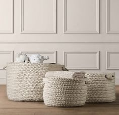 braided wool blend baskets, smaller braids braided into thicker braids.