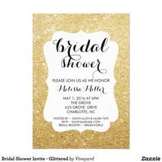 "Bridal Shower Invite - Glittered 5"" X 7"" Invitation Card"