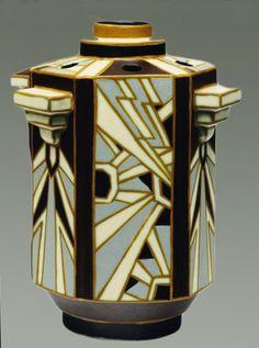 Charles Catteau Art Deco glazed earthenware hexagonal vase for Boch Frères Keramic, circa 1925