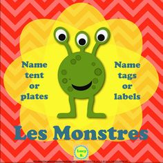 "$ How about some fun ""Monsters"" desk name tents for your classroom next year? Name tags, too."