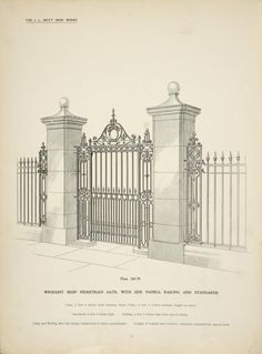 Wrought iron pedestrian gate, with side panels, railing and standards