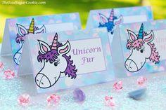 Unicorn Birthday Party Food Label Tent Cards-Unicorn Fur, Unicorn Cookies…