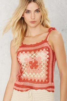 Wasted on the Way Crochet Top - 70's Festival