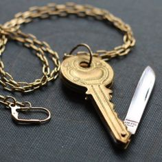 Brass Key Shaped Pocket Knife Necklace with Free by contrary