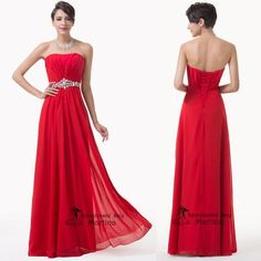 6169762cbf0 New Stock RED Chiffon Evening Formal Party Ball Gown Prom Bridesmaid Long  Dress