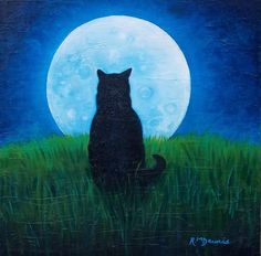 Black Cat Art Moon Spellbound Rosemary Daunis by RosemaryDaunisArt