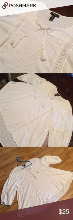 Lightweight Cotton plus size shirt! Size 2x! White cotton shirt with 3/4 sleeves and tassel ties. Perfect for the tropics or bathing suit cover! Used once. Style & Co Tops Tunics