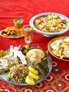 Picnic: Meze Platter with Herbed Pita Crisps | Couscous Salad with Shrimp | Sofia Mini Blanc de Blancs | Moroccan Mint Tea | For dessert: Bring dried fruit — like apricots, dates, prunes, and figs — to enjoy with your tea.