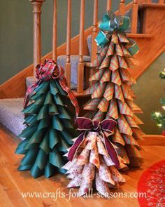 DIY Christmas paper tree tutorial - I might use felt or fabric. Cone Christmas Trees, Noel Christmas, All Things Christmas, Winter Christmas, Christmas Wreaths, Christmas Ornaments, Cone Trees, Christmas Wrapping, Cheap Christmas