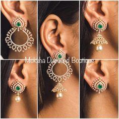 Saved by radhareddy garisa Diamond Earrings Indian, Diamond Jhumkas, Diamond Chandelier Earrings, Diamond Earing, Diamond Jewellery, Diamond Necklaces, Diamond Studs, Jewelry Design Earrings, Gold Earrings Designs