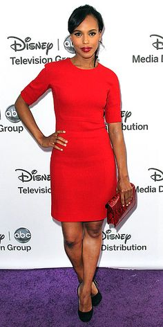 KERRY WASHINGTON  Also at the Disney upfronts, the actress is red-hot in an elegant short-sleeve, above-the-knee frock accessorized with black heels and a red snakeskin clutch.