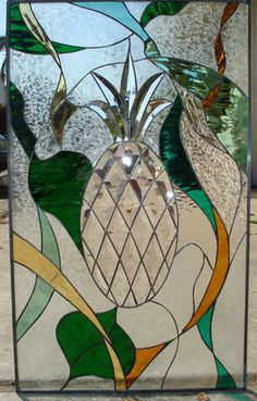 beautiful stained glass windows Photo | Beveled Pineapple Abstract Stained Glass Window