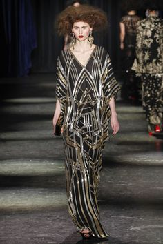 Naeem Khan | Fall 2016 Ready-to-Wear | 19 Black/silver/gold sequined 3/4 sleeve maxi dress