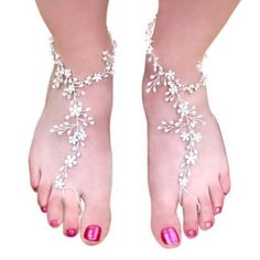 Weddings are Fun Women's Foot Lace Barefoot Sandals - Clear Rhinestones - Sold in Pairs