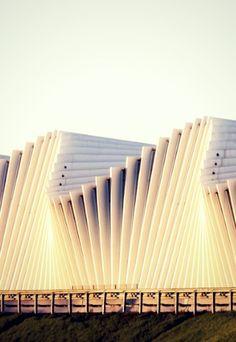 Beautiful contemporary architecture of the Reggio Emilia Train Station by Santiago Calatrava. Modern architect.