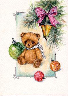 bears dolls toys watercolor postcards открытки куклы мишки тедди акварель по мотивам работ Варвары Демидкиной Christmas Teddy Bear, Christmas Animals, Pink Christmas, Vintage Christmas Cards, Art D'ours, Sweet Drawings, Art Carte, Blue Nose Friends, Cute Teddy Bears