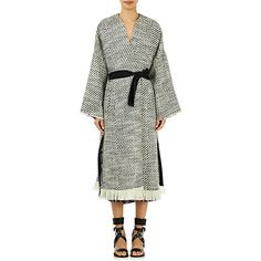 Isabel Marant Women's Iban Belted Robe Coat ($1,075) ❤ liked on Polyvore featuring outerwear, coats, colorless, clear coat, isabel marant, white wrap coat, tweed wool coat and isabel marant coat