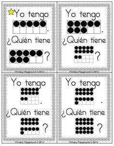 "Students identify numbers in Spanish using ten-frames to 20 in this fun ""I Have... Who Has...?"" game; available in English or Spanish; $"