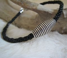 Mens Black  Leather Kumihimo Bracelet w/Sterling Silver Bead - B45 | DesignsByMalone - Jewelry on ArtFire