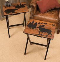 Mountain Getaway Folding Side Tables - Set of 2 Rustic Coffee Tables, Rustic Table, Rustic Decor, Moose Decor, Bear Decor, Cabin Crafts, Diy Furniture Decor, Black Forest Decor, Cabin Chic