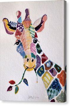 Amazing Patchwork giraffe print by Diane Ursin. All prints are professionally printed, p . Patchwork giraffe print by Diane Ursin. Giraffe Painting, Giraffe Art, Giraffe Drawing, Fine Art Amerika, Art Du Collage, Animal Quilts, Fabric Art, Textile Art, Watercolor Art