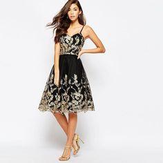Golden Embroidery Spaghetti Strap Black Short Dress